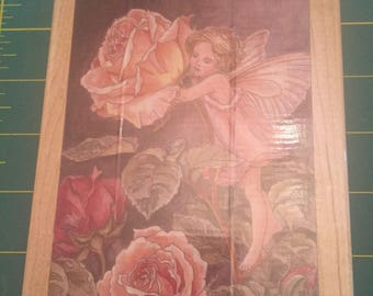 Rose Flower Fairy Rubber Stamp - Brand New