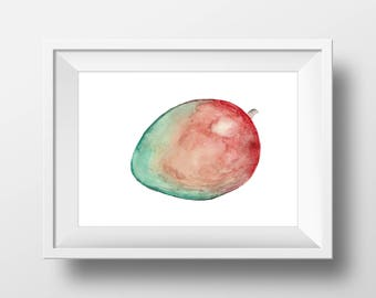Mango Watercolor Archival Print | 8x10 | 11x14 | Kitchen art | Food art | Home decor