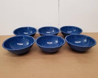 Set of 6 Vintage Blue Enamelware Bowls