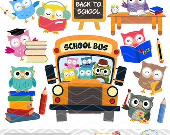 Instant Download School Owls Digital Clipart, Back to School Owl Digital Clip Art, Graduation Owls Digital Clip Art School Owl Clip Art 0249