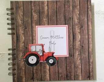 Baby Book |  Baby Memory Album | Rustic Wooden Tractor Personalized Wire Bound Baby Memory Book Keepsake Album
