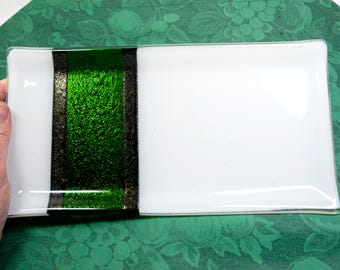 Large Platter, Holiday Party Plate, White and Green, Fused Glass, Christmas Party, Serving Dish