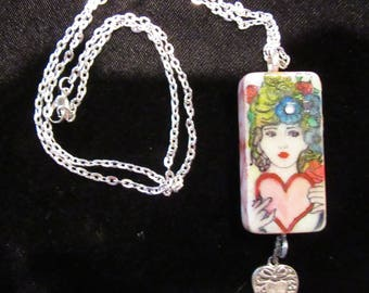 Altered Art DOMINO EMBELLISHED PENDANT -Alcohol Ink Painted Lady  with Silver Heart