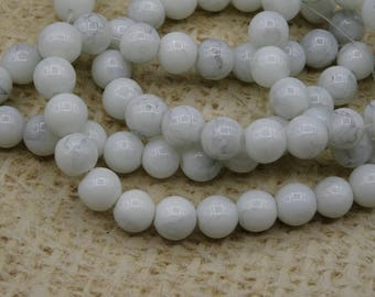 Glass beads, marbled white glass, round beads 8mm, lot 20