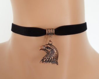 black velvet choker, eagle choker, bird necklace, stretch ribbon, copper tone