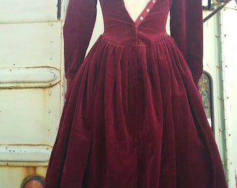 rare vintage 80s designer Norma Kamali burgendy red velvet puff sleeve princess coat dress gown goth Gothic costume 1980s small witchy