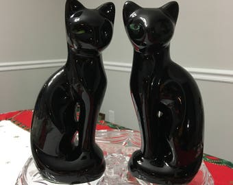 Vintage Black Siamese Cat Statue Made in Taiwan