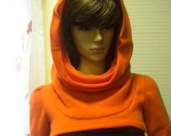 Orange bolero with big collar - hood