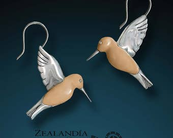 Silver Hummingbird Earrings - Hand carved Tagua