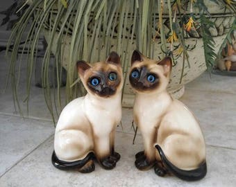 Siamese Cats Vintage Enesco Seal Point Siamese Figurines 7 Inchrd Tall Shocking Blue Eyes Ceramic Kitten Knick Knack Mid-Century Home Decor