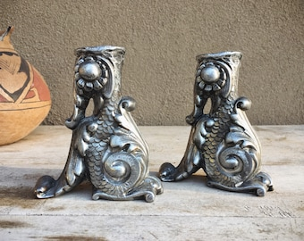Set of Two Pewter Metalware Candlestick Candle Holders in Ornate Sculptural Design