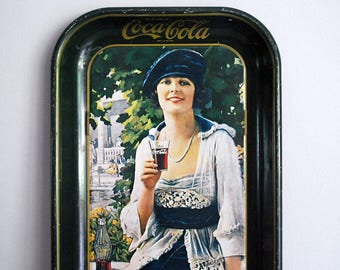 Coca-Cola Tray, 1973 Advertising Collectible, Flapper Girl Serving Tray, Coke Reproduction Retro Ad, Metal Tray Tin, Vintage Kitchen Decor