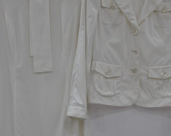 Vintage RENA LANGE white suit , women's dress , designer suit ...(383)