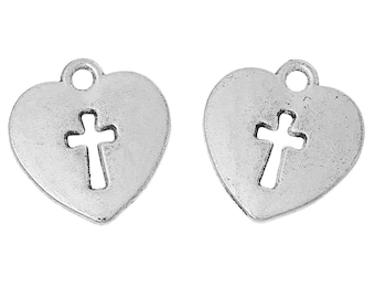 Heart with Cross charm - Set of 20 - #MP184