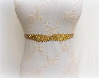 Gold leaf belt. Grecian belt. Elastic waist belt. Dress belt. Bridal belt. Stretch belt. Bridesmaids belt. Evening belt. Greek belt.