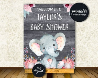 Baby Shower Welcome sign, Elephant Welcome sign PRINTABLE, Elephant baby shower decoration, Girl Elephant Baby shower decor, Digital file