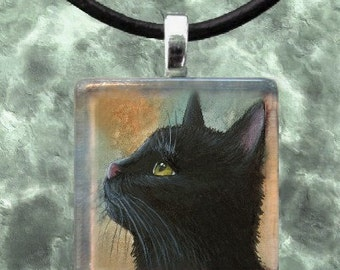 Glass Pendant, Cat Pendant, 1x1, Jewelry, Necklace, from art painting black Cat 545 by L.Dumas