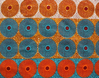 African fabric, 6 yards, Record African Print, Colourful Circle Print, Bold African Print, wax print, Circle print fabric, Ankara print