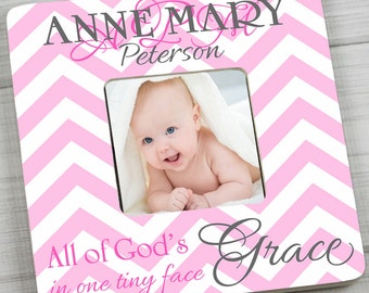 Pink Chevron Girls Photo PICTURE FRAME - All of God's Grace for Kids Bedroom Baby Nursery PF0057