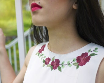 Hand Embroidered #upcycled Floral Blouse