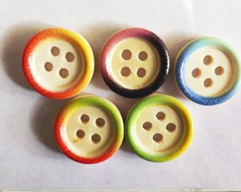 "Round colored buttons 10 wood round buttons 15mm( 5/8"")  wood button tie dye buttons rainbow buttons"