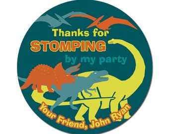 Personalized Birthday Labels / Dinosaur Labels / Birthday Stickers / Boy / Custom Stickers / Favor Labels / Dinosaur Stickers / Thank You