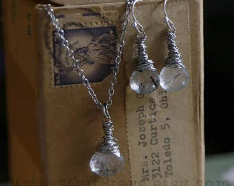 Scribble - Strung-Out guitar string necklace and earring set with rutilated quartz