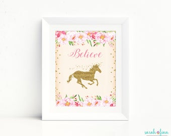 Unicorn Print Unicorn Party Sign Gift for Kids Unicorn Gift Believe Unicorn Printable Art Unicorn Party Sign Unicorn Birthday Decor Gold