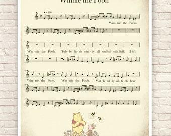 Winnie the Pooh, Pooh Sheet Music, Pooh and Piglet, Decorative Sheet Music, Pooh Nursery Art, Pooh Sheet Music, Winnie the Pooh Shower Gift.