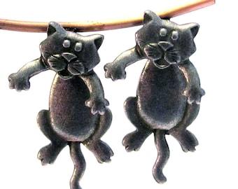 Hanging Cat Pierced Earrings