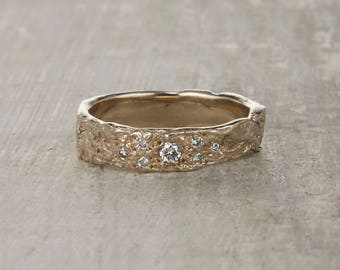 Tree Bark Wedding Ring - Nature Tree Ring with Pave Diamonds in White Gold, Yellow Gold, Rose Gold or Platinum