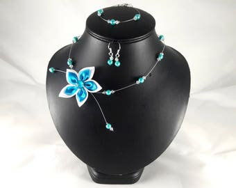 Adornment Loane 3 wedding turquoise and crystal flower - customizable parts