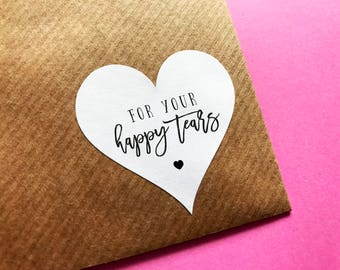 For Your Happy Tears, Wedding Tissues Label, Happy Tears Sticker, Wedding Favour Stickers, Tissue Pack Labels, Wedding Tears Sticker
