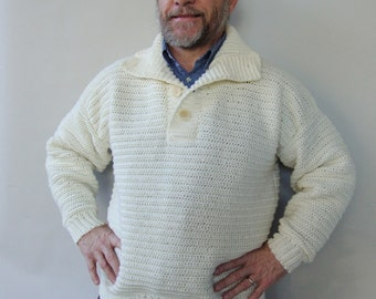 Men's Sweater, Men's Wool Sweater, White Sweater, Men's Crochet Sweater, Wool Sweater Men, Dad Gift, Husband Gift, Available in S/M and XL