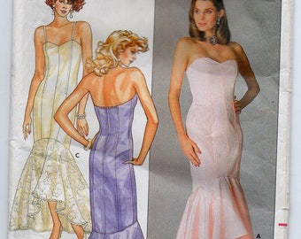 Bridal Prom Gown Bridesmaid Formal Wedding Dress Evening Wear Size 6 8 10 Sewing Pattern 1986 Butterick 3727