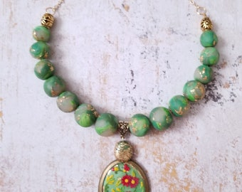 JADE GARDEN PolymerClay Fashion Jewelry, Faux-stones Inspired Jewelry, Amazonite colored beaded necklace set with spring filigree pendent