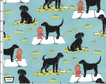 Ike Fabric in Aqua from the Ike and Oona Collection by Michael Miller Fabric Dogs and Hydrants