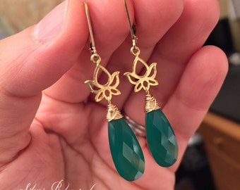 Gold Lotus Green Onyx Earrings in Gold Fill and Vermeil