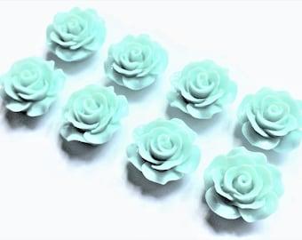 Aqua Flower Magnets in Decorative Tin | Set of 8 | Super Strong | Cute Fridge Magnets | Flower Magnets | Aqua Kitchen | Decorative Magnets