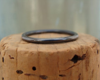 Oxidized Sterling Silver Stack Ring--Plain--Handcrafted--Sweet & Simple