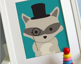 racoon printable 8x10 children's art print
