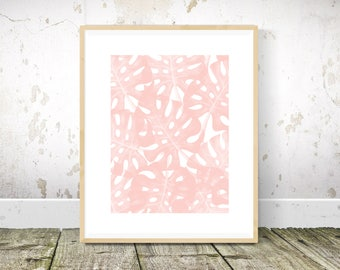 Monstera Print, Tropical Print, Blush Pink Wall Art, Pink Wall Decor, Pink Art, Tropical Art, Absstract Art, Printable Wall Art