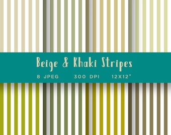 Earth Tone Papers - Beige Stripes Digital Paper - Neutral Colors for Backgrounds - Neutral Stripes - Khaki Stripes  - Patterned Paper Pack