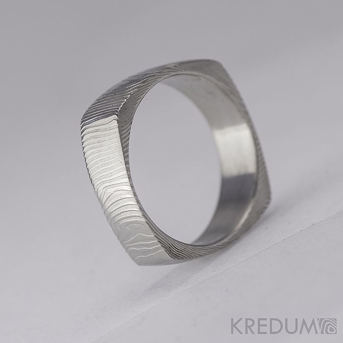 Square Wedding Ring Mens Womens Hand Forged