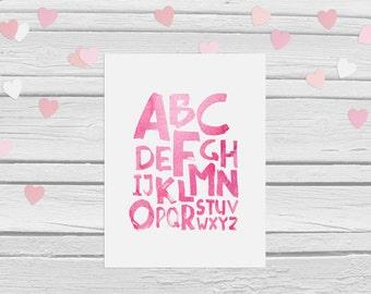 Nursery decor ABC, Pink, watercolour, A4, Alphabet, Alphabet Art, abc, abc Art Print, Kids Playroom Decor, Nursery Wall Art, Learning Print
