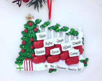 8 Stockings on a Bannister Christmas Ornament / Family of 8 Personalized Christmas Ornament / Large Family Ornament