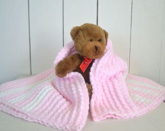 Crochet Baby Blanket Handmade Girls Blanket Pink Shell Stitch Blanket Knit Stroller Blanket 31 x 30 Inches