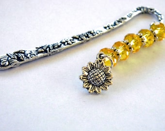 Sunflower Bookmark with Yellow Glass Beads Shepherd Hook Steel Bookmark Silver Color Detailed Flower Bookmark