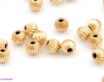 6mm - 20pcs 14K GOLD-FILLED ,Fluted, corrugated, Round Beads, Polished, spacer beads, Made in the USA, High Quality OV39