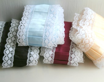 Pleated Satin Ribbon Lace Edging, Black, Baby Blue, Burgundy or Ivory